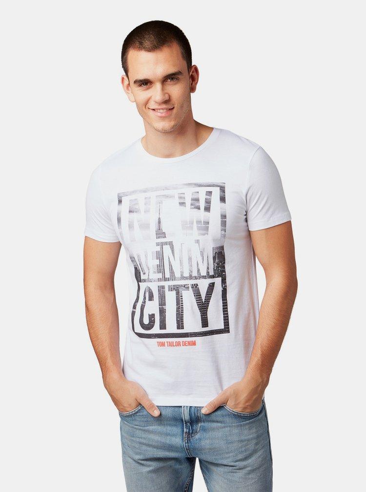 Tricou barbatesc alb cu imprimeu Tom Tailor Denim
