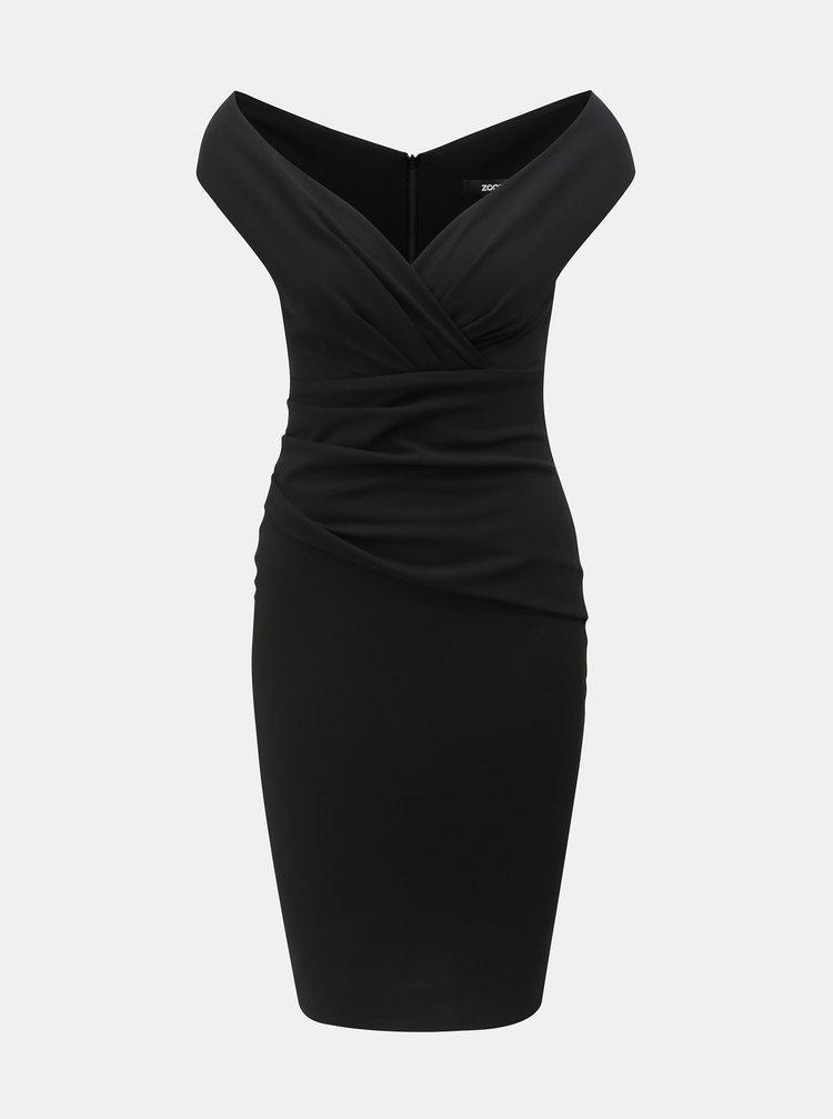Černé pouzdrové šaty s řasením ZOOT