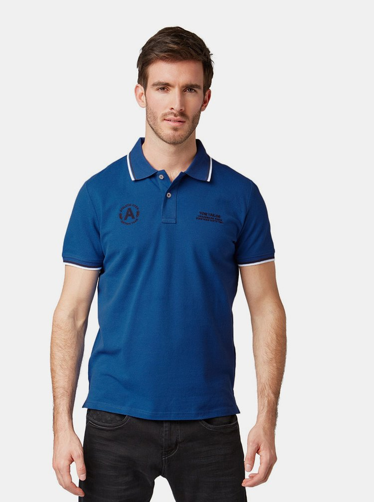 Tricou polo barbatesc albastru regular fit Tom Tailor