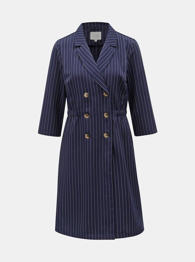 Rochie albastru inchis in dungi cu nasturi VILA Enrica