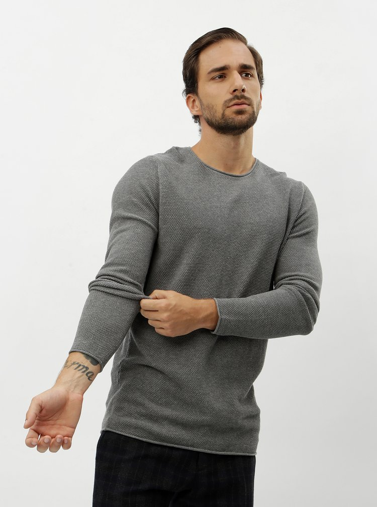 Pulover gri cu decolteu rotund Selected Homme Rocky