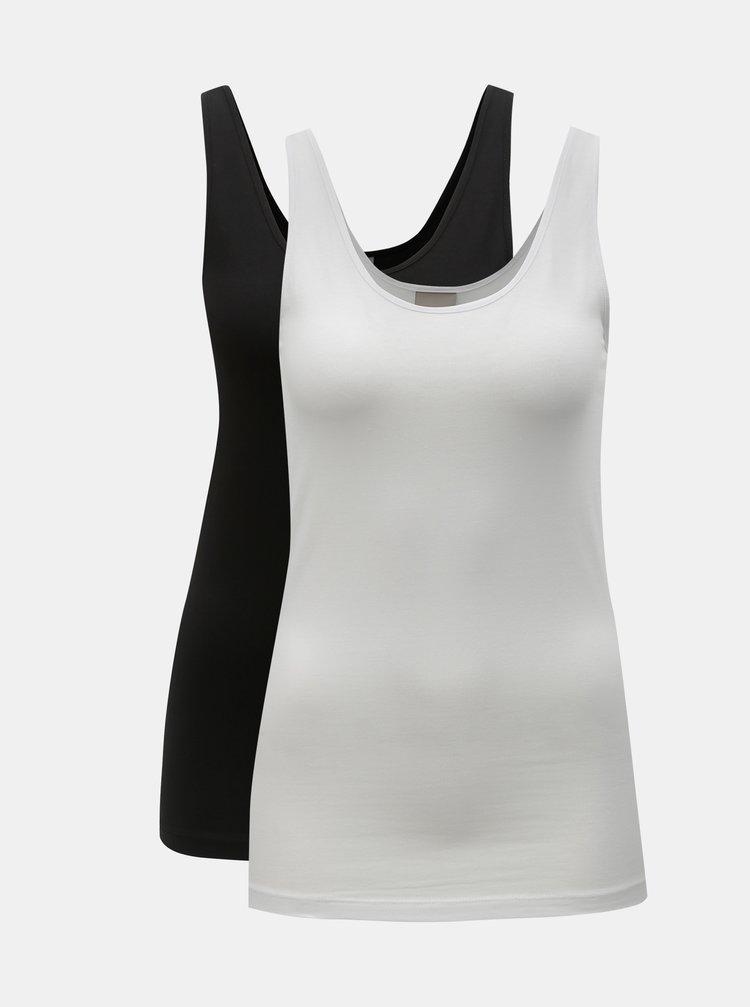 Sada dvou basic tílek v bílé a černé barvě VERO MODA Maxi