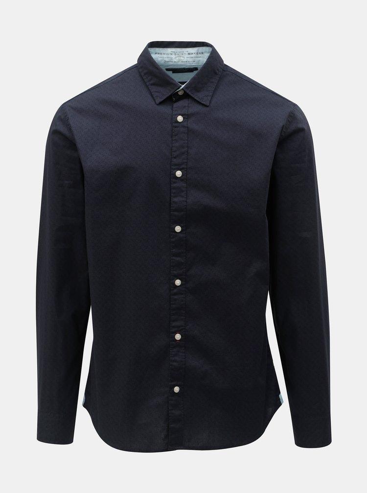 Camasa albastru inchis slim fit cu model si maneci lungi Jack & Jones Jason