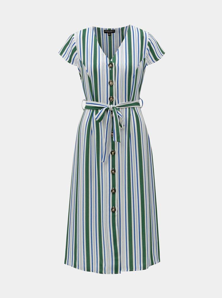 Zeleno-bílé pruhované midišaty Dorothy Perkins