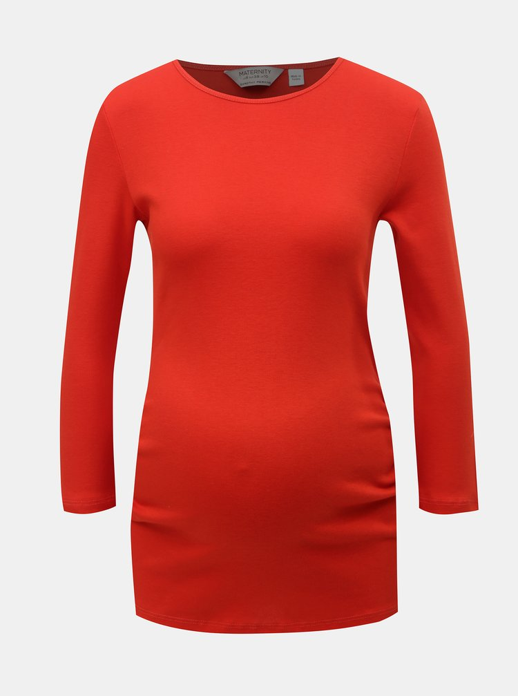 Červené těhotenské tričko s 3/4 rukávem Dorothy Perkins Maternity