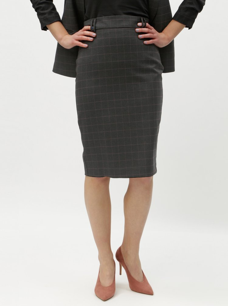 Šedá kostkovaná pouzdrová sukně Dorothy Perkins