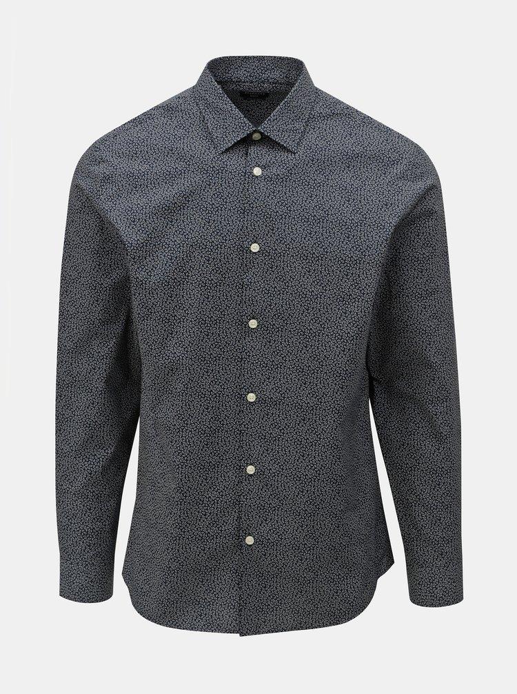 52d6cb50061 ... Tmavě modrá vzorovaná slim fit košile Selected Homme Slimpen