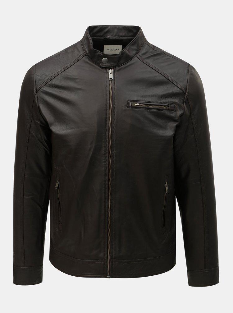 Jacheta maro inchis din piele Selected Homme Classic