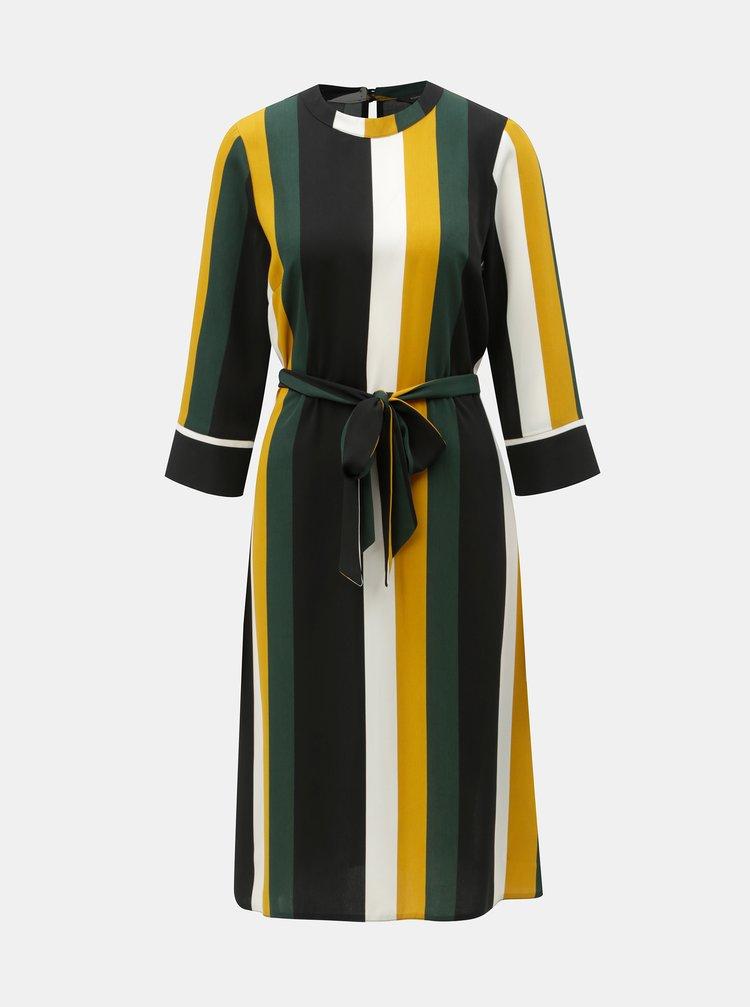 Žluto-černé pruhované šaty se zavazováním Dorothy Perkins