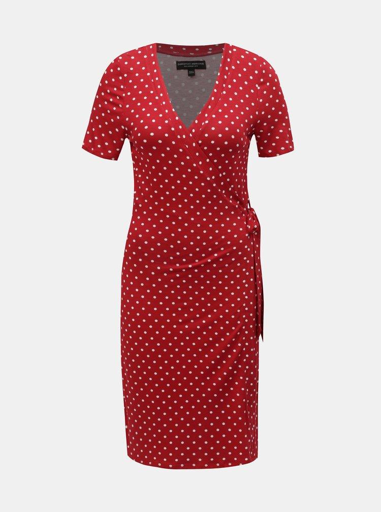 Červené bodkované zavinovacie šaty Dorothy Perkins