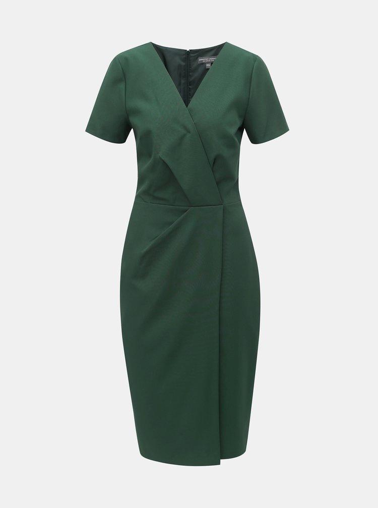 Tmavozelené puzdrové šaty s prekladaným výstrihom Dorothy Perkins Tall