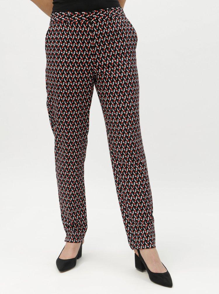 Tmavomodré vzorované nohavice s vysokým pásom Dorothy Perkins Tall
