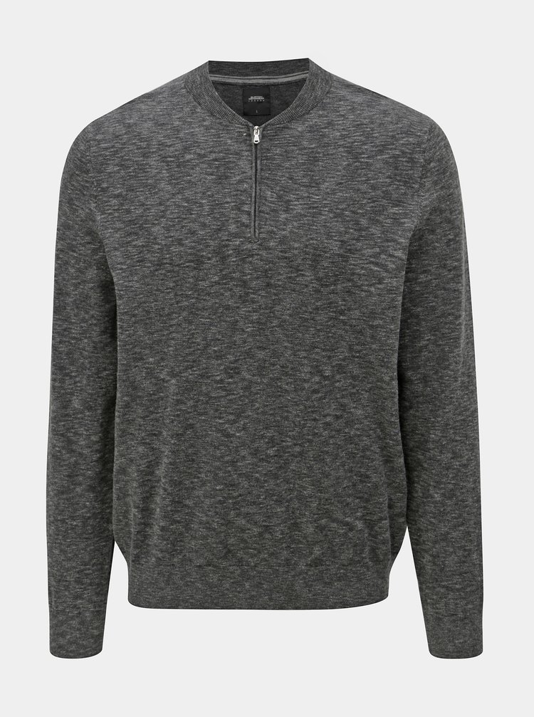 Tmavě šedý žíhaný svetr se zipem Burton Menswear London