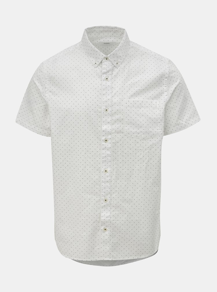 Bílá puntíkovaná košile s krátkým rukávem Burton Menswear London