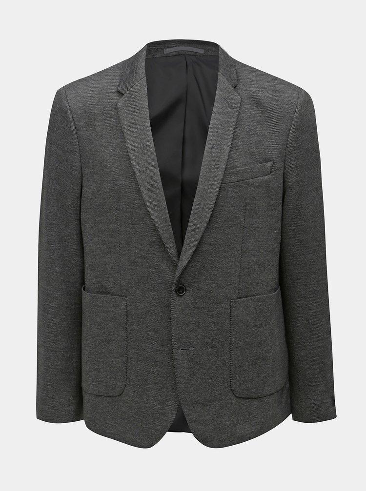 Tmavě šedé žíhané sako Burton Menswear London