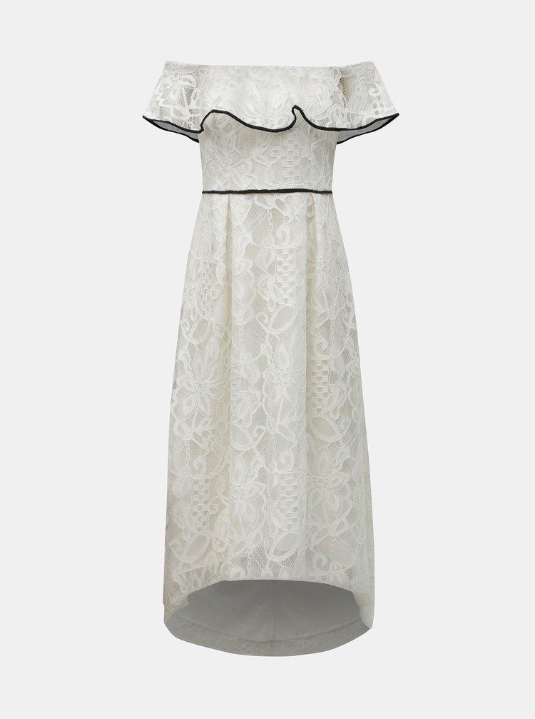 Bílé krajkové midišaty s odhalenými rameny Dorothy Perkins