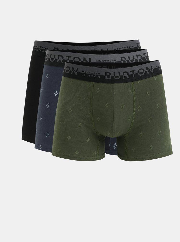 Sada tří boxerek v khaki, modré a černé barvě Burton Menswear London