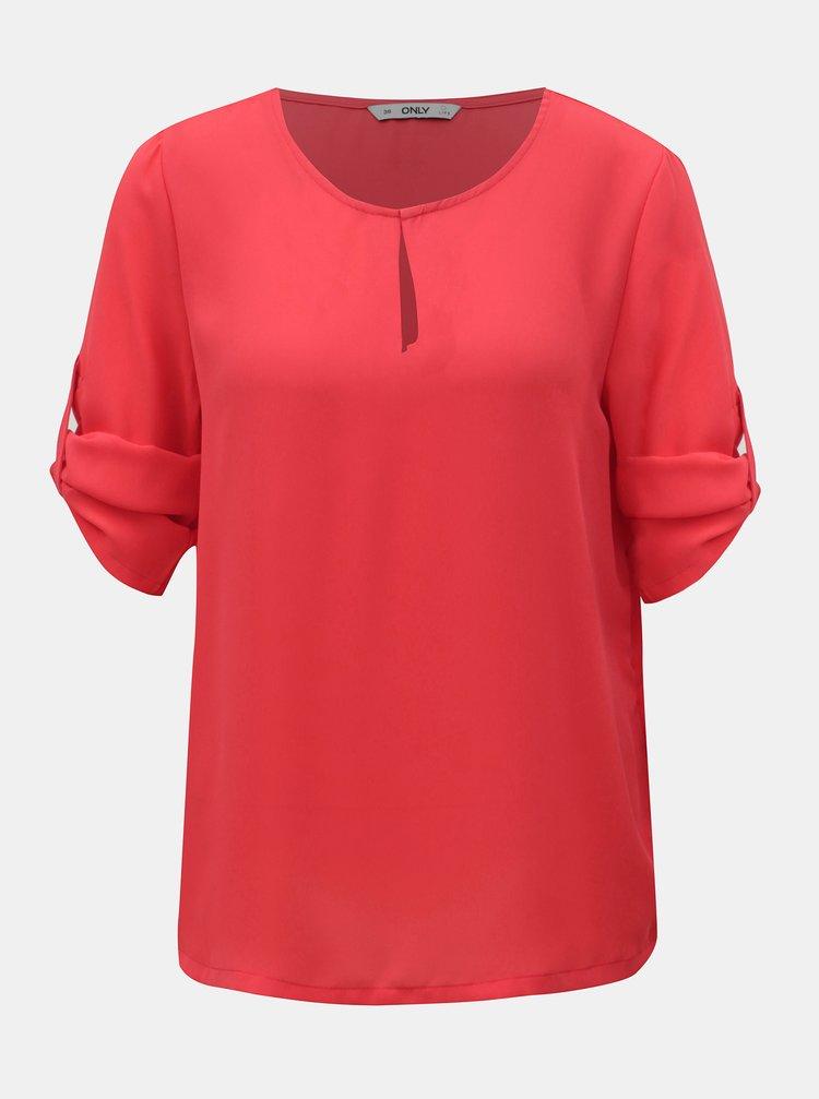 Bluza roz cu decupaj la decolteu ONLY Agnes