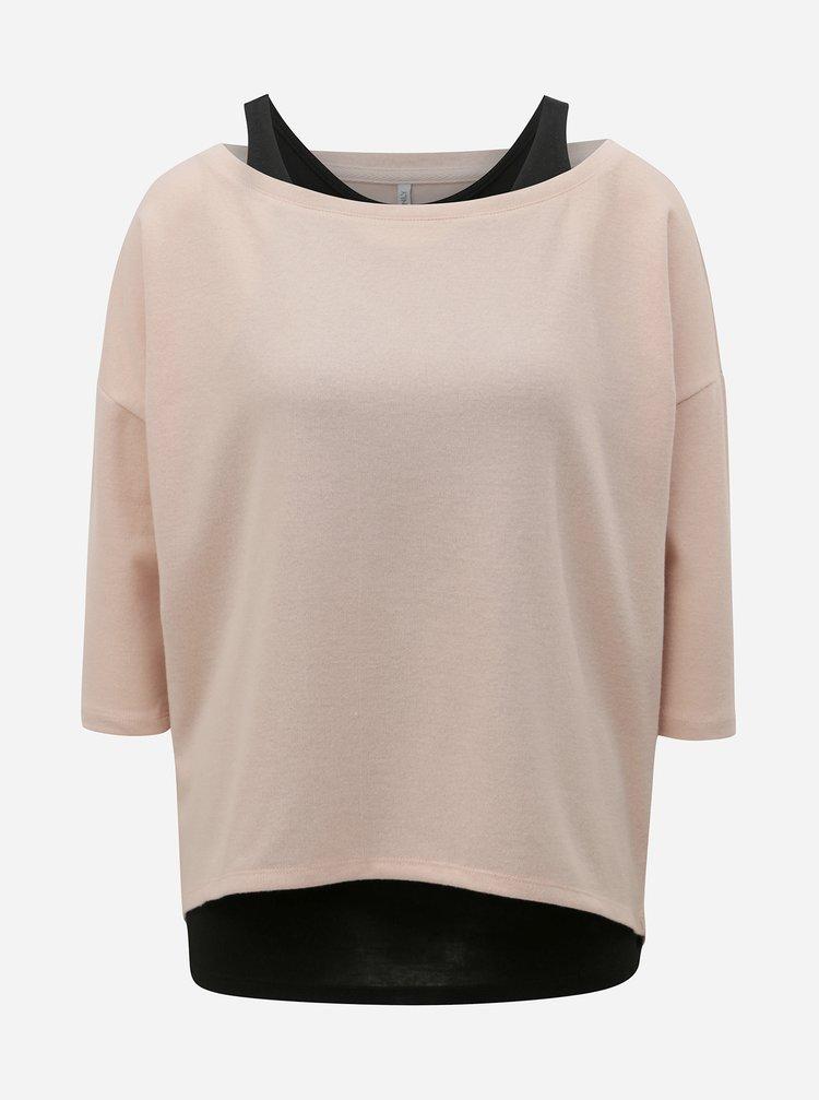 Růžový lehký svetr s tílkem 2v1 ONLY Alberta