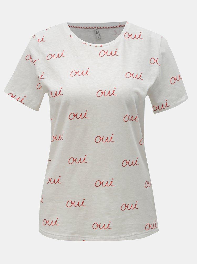 Bílé tričko s potiskem ONLY Bone