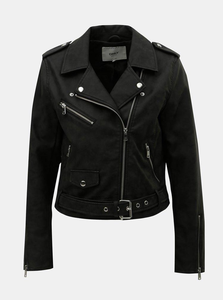 Čierna koženková krátka bunda ONLY Geena