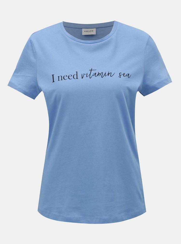 Modré tričko s potlačou VERO MODA Hedin