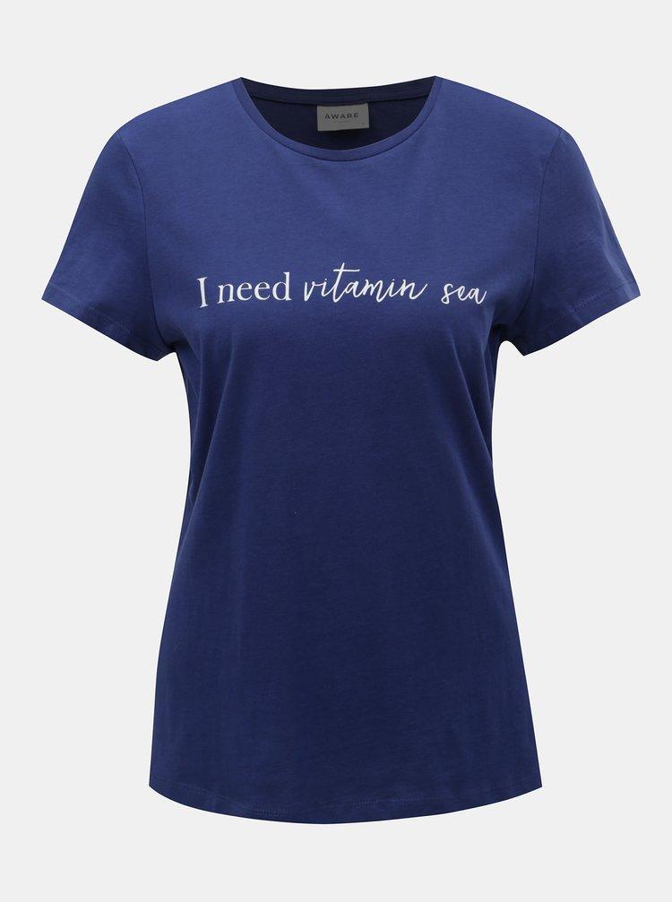 Tricou albastru inchis cu imprimeu VERO MODA Hedin
