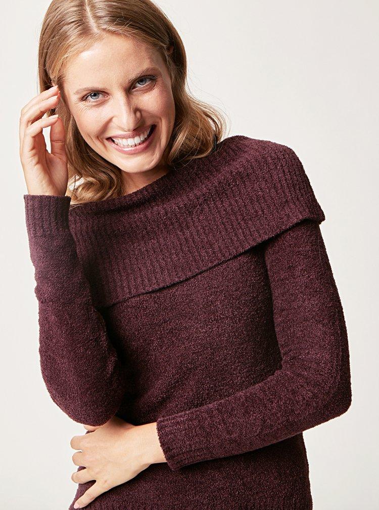 Tmavě fialový svetr s límcem touch me.