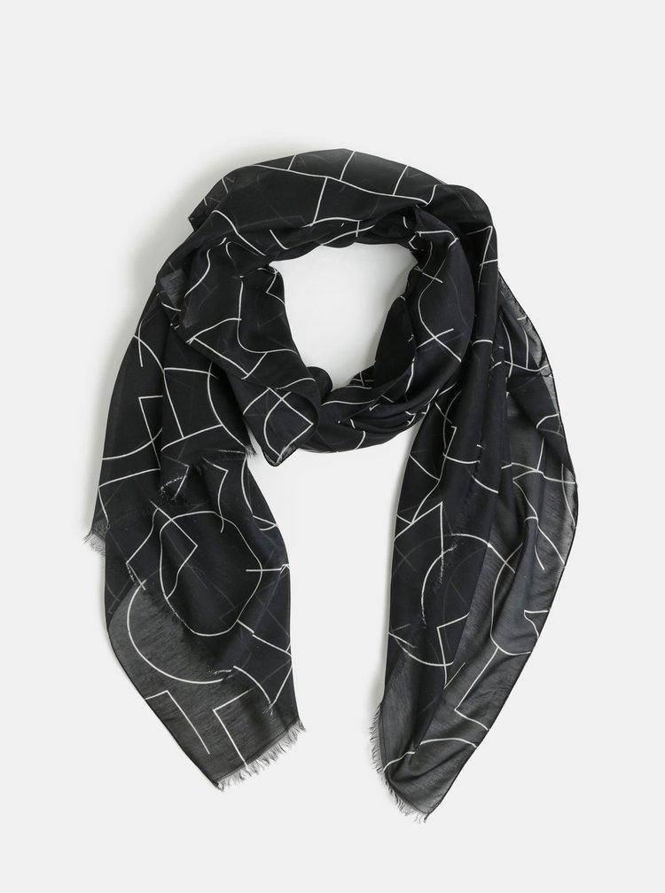 Černý vzorovaný šátek VERO MODA Love