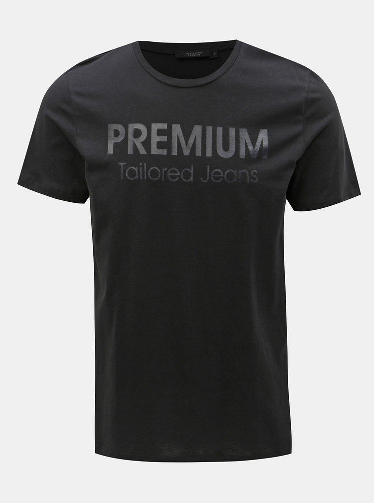 Tricou negru slim fit cu imprimeu Jack & Jones Logo