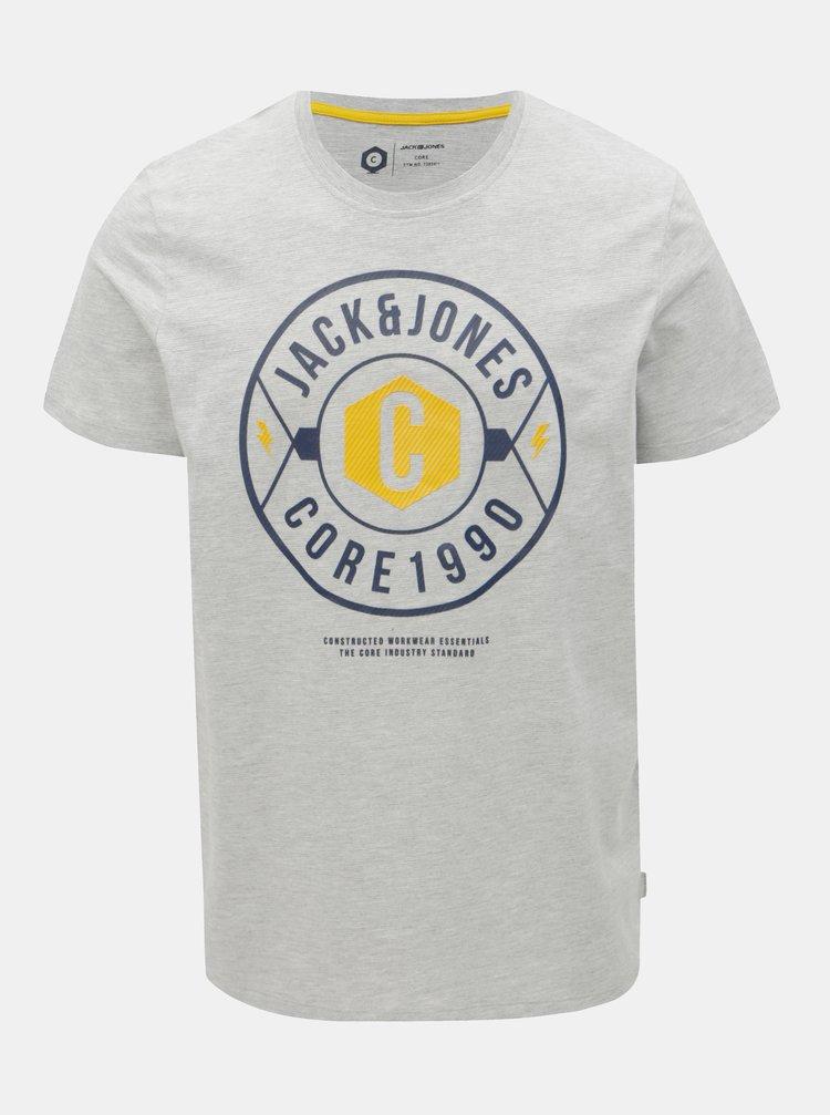 Světle šedé žíhané regular tričko s potiskem Jack & Jones Fresco