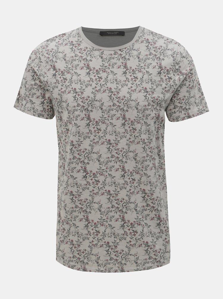 Šedé květované slim fit tričko Jack & Jones Canton