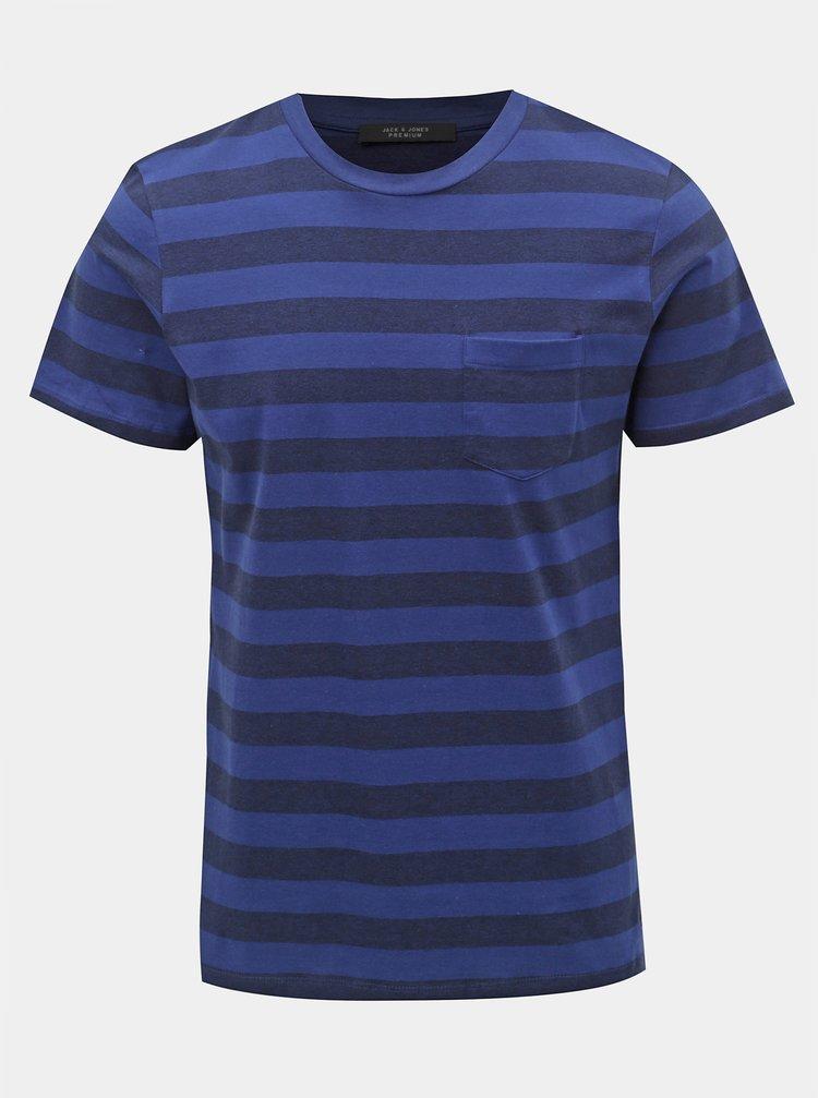Tricou albastru in dungi slim fit Jack & Jones Normann