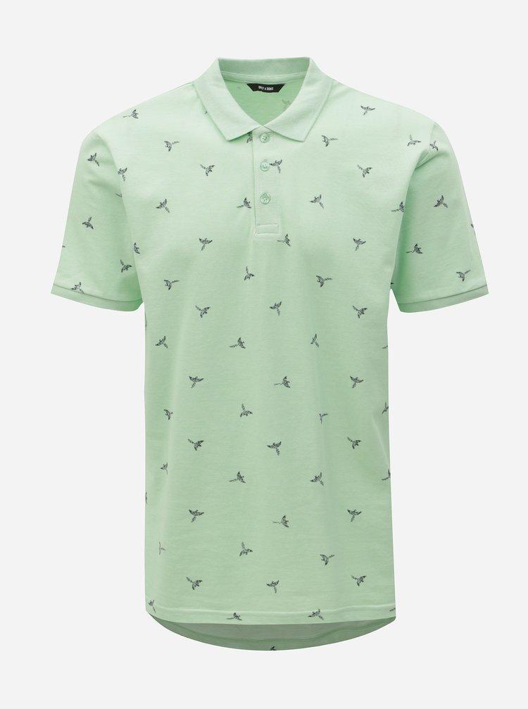Světle zelené polo tričko s potiskem ONLY & SONS Bird