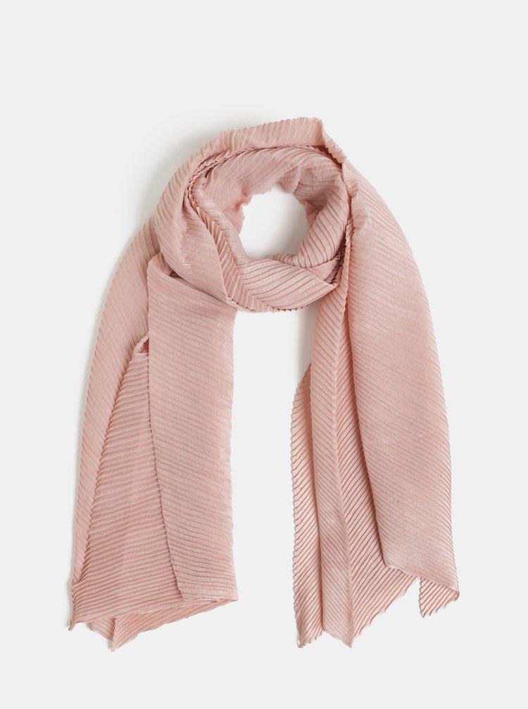 Esarfa roz plisata Pieces Lamilla