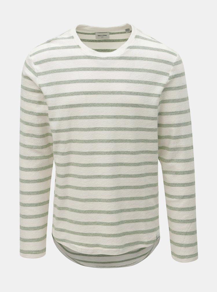 Zeleno-krémové pruhované tričko ONLY & SONS Marvin