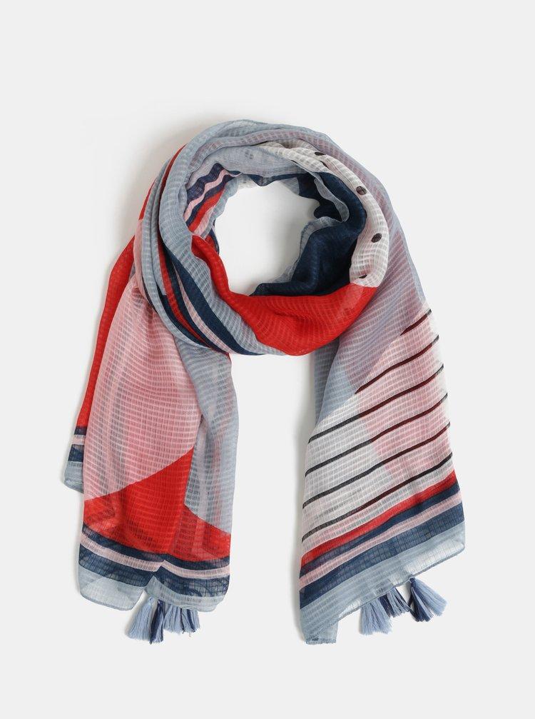 Červeno-modrý vzorovaný šátek Pieces Bolivia