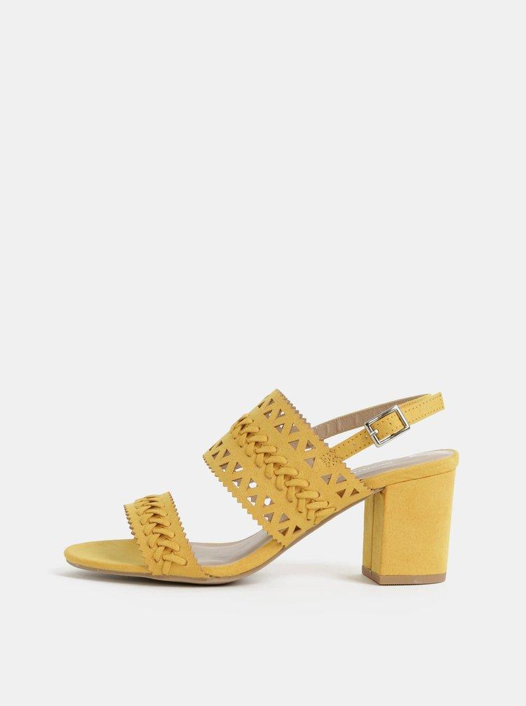 Sandale galbene cu aspect de piele intoarsa Dorothy Perkins