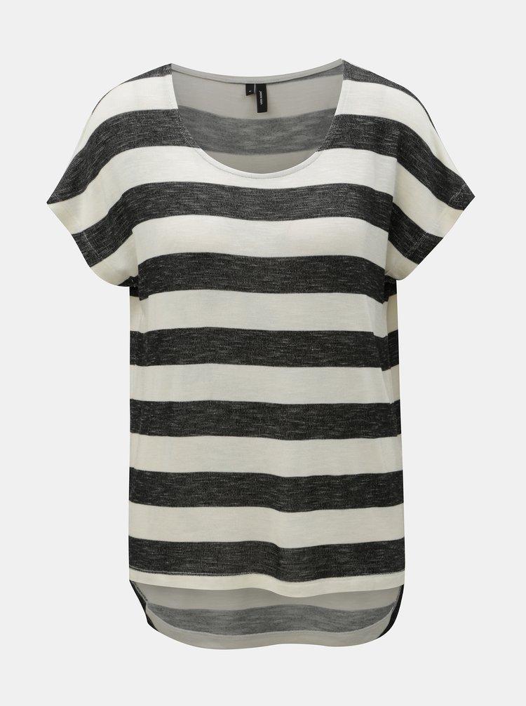 Krémovo-černé pruhované tričko VERO MODA Wide