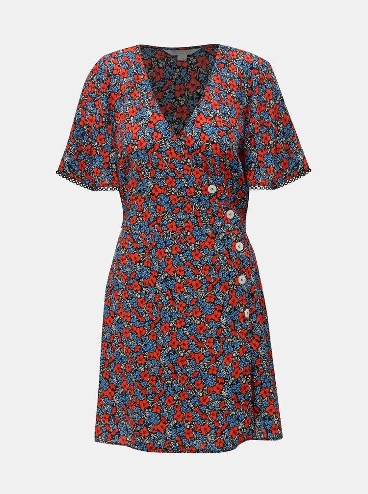 Modro-červené květované šaty Miss Selfridge