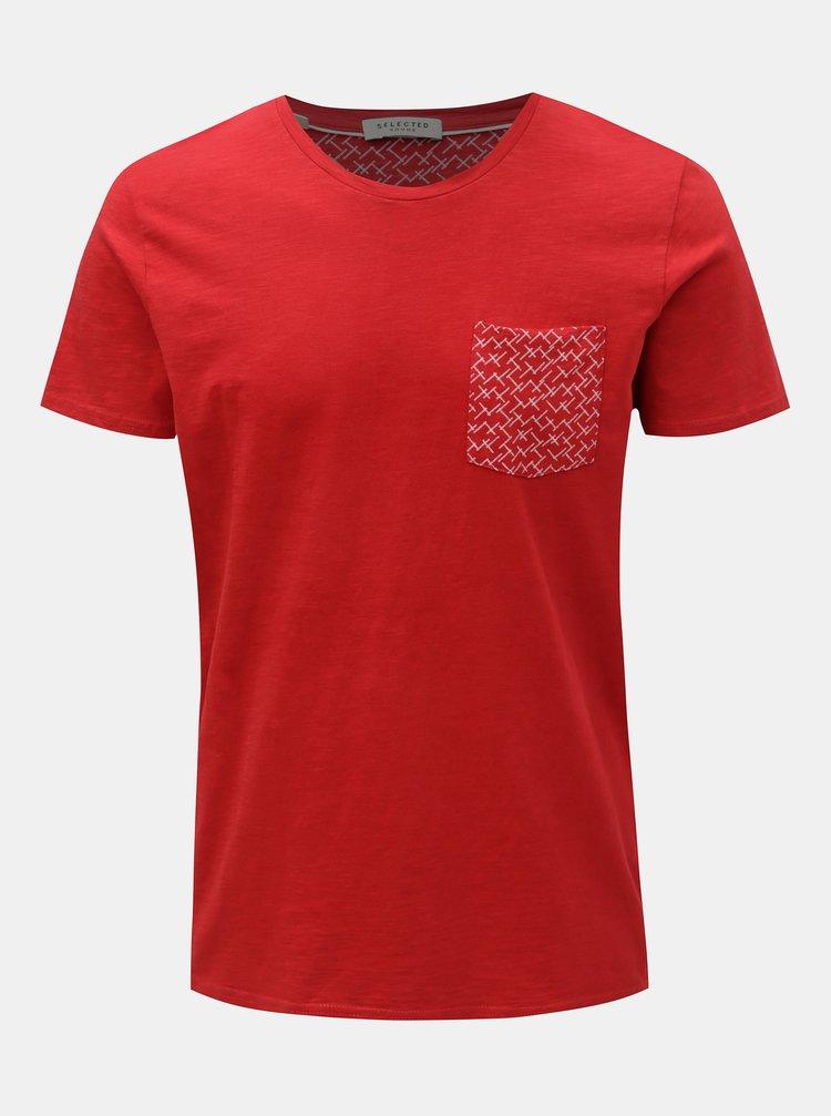 Tricou rosu cu buzunar la piept Selected Homme Kristian