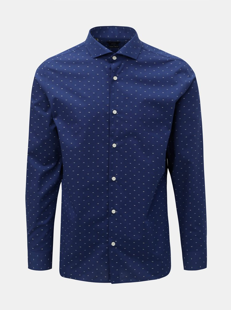 Camasa formala albastru inchis slim fit cu model Selected Homme Sel-Walker