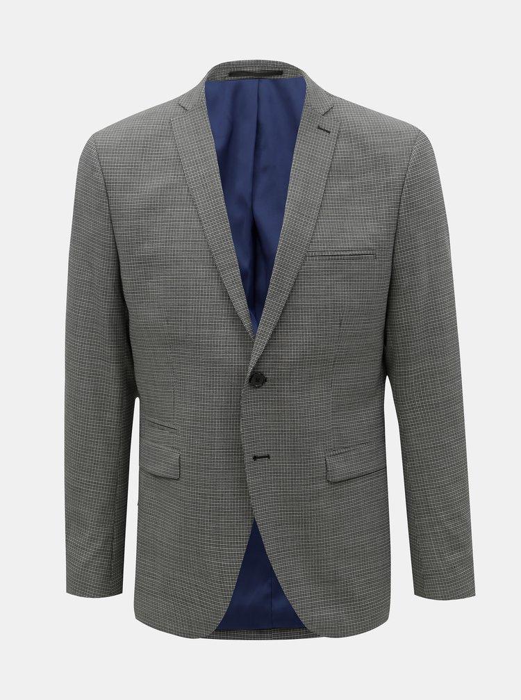 Sivé kockované oblekové slim sako s prímesou vlny Selected Homme Buffalonoah
