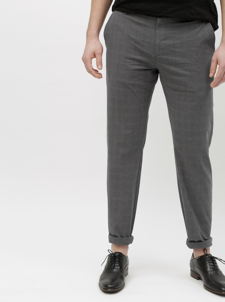 Pantaloni gri in carouri chino Selected Homme Arval
