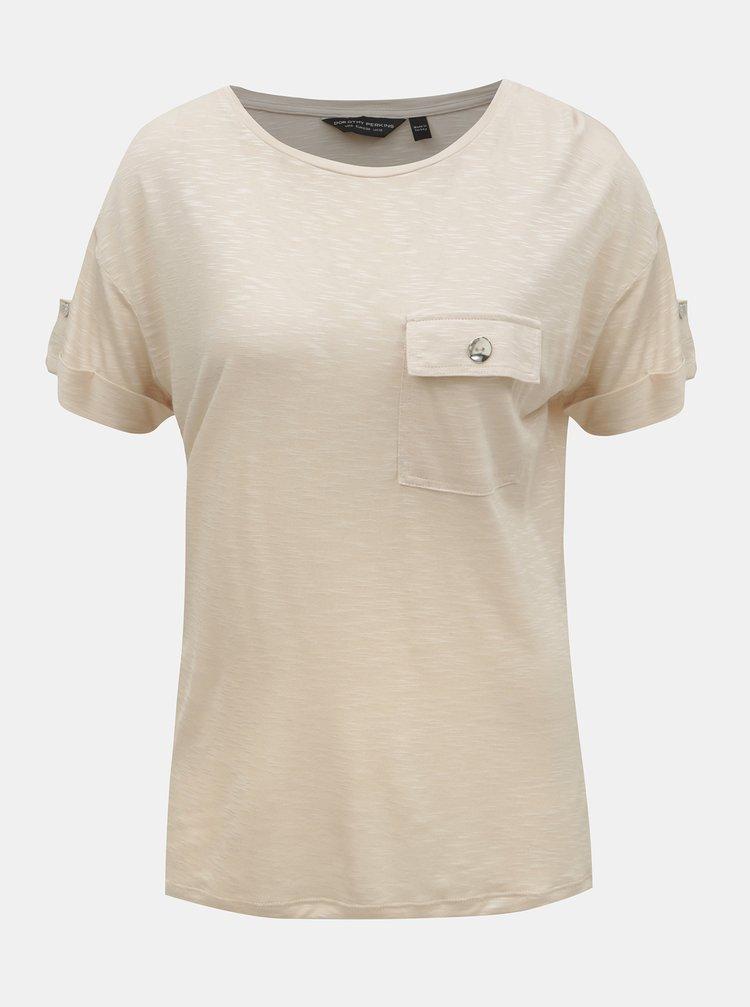 Béžové tričko Dorothy Perkins
