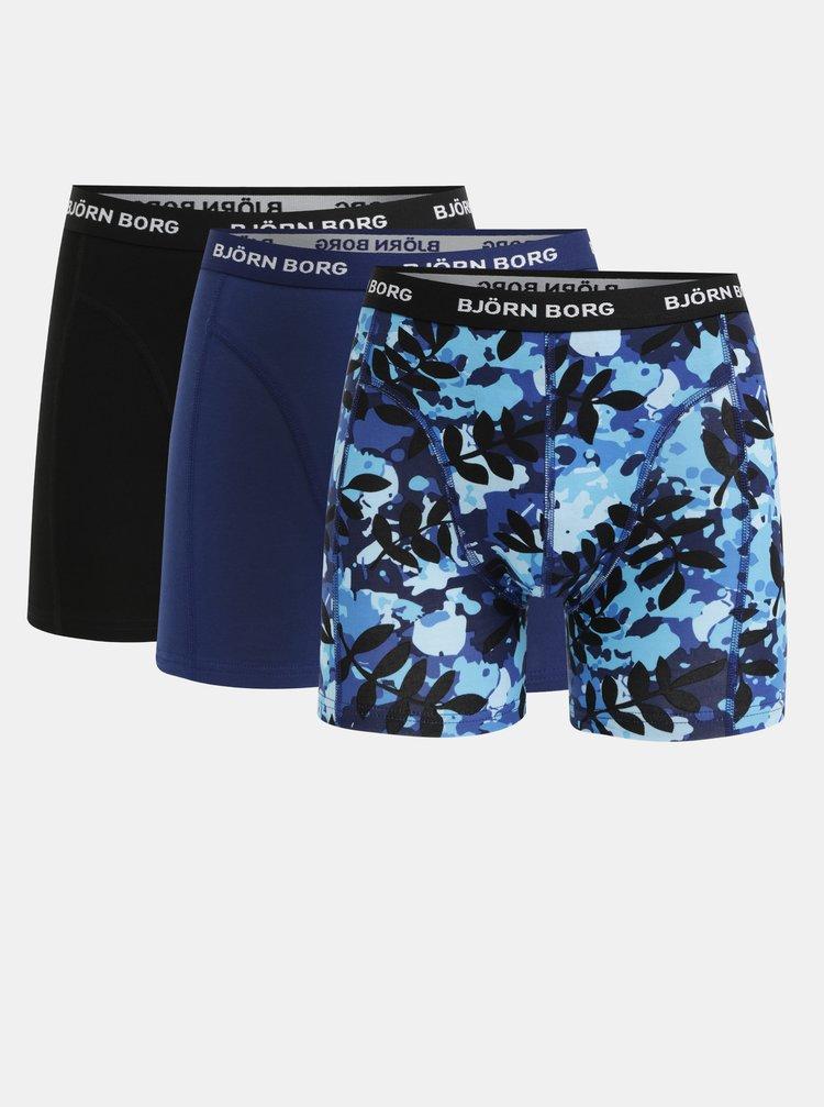 Sada tří boxerek v černé a tmavě modré barvě Björn Borg