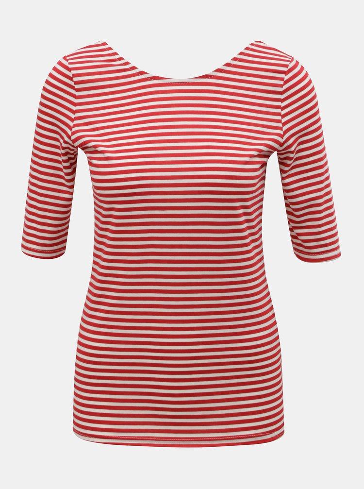 Bílo-červené pruhované basic tričko Dorothy Perkins