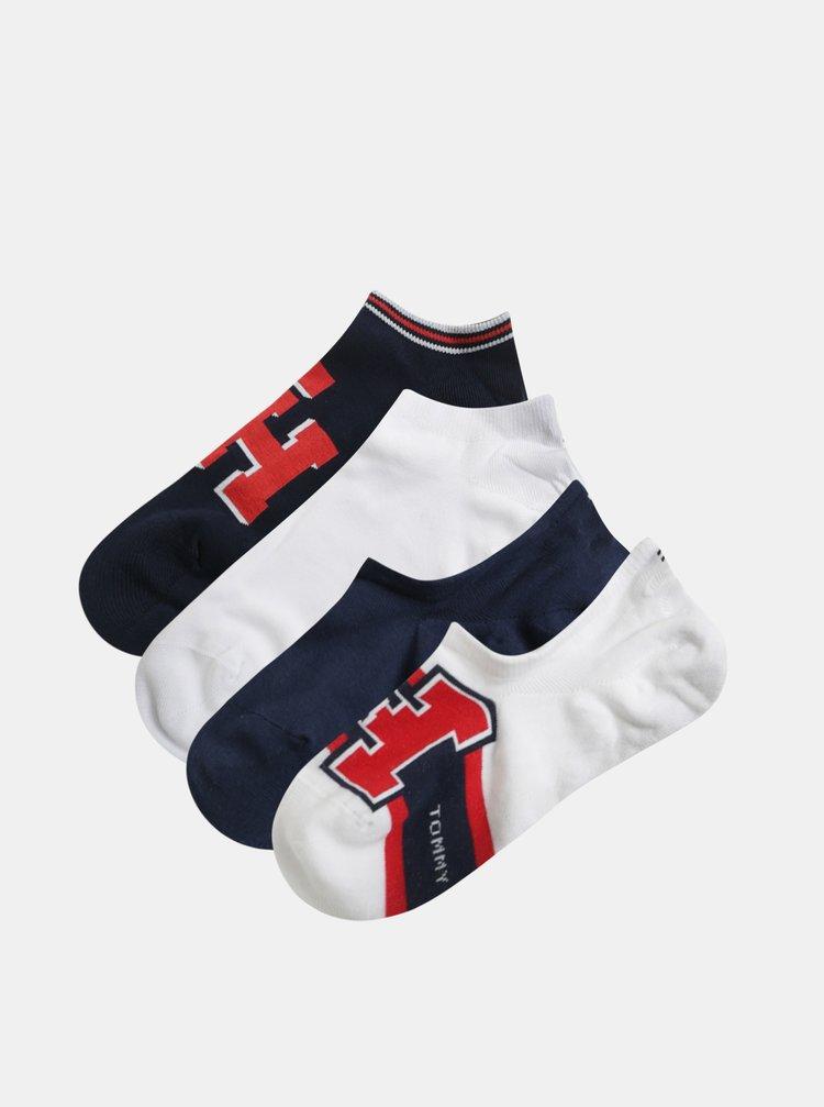 Sada čtyř párů ponožek v bílé a modré barvě Tommy Hilfiger