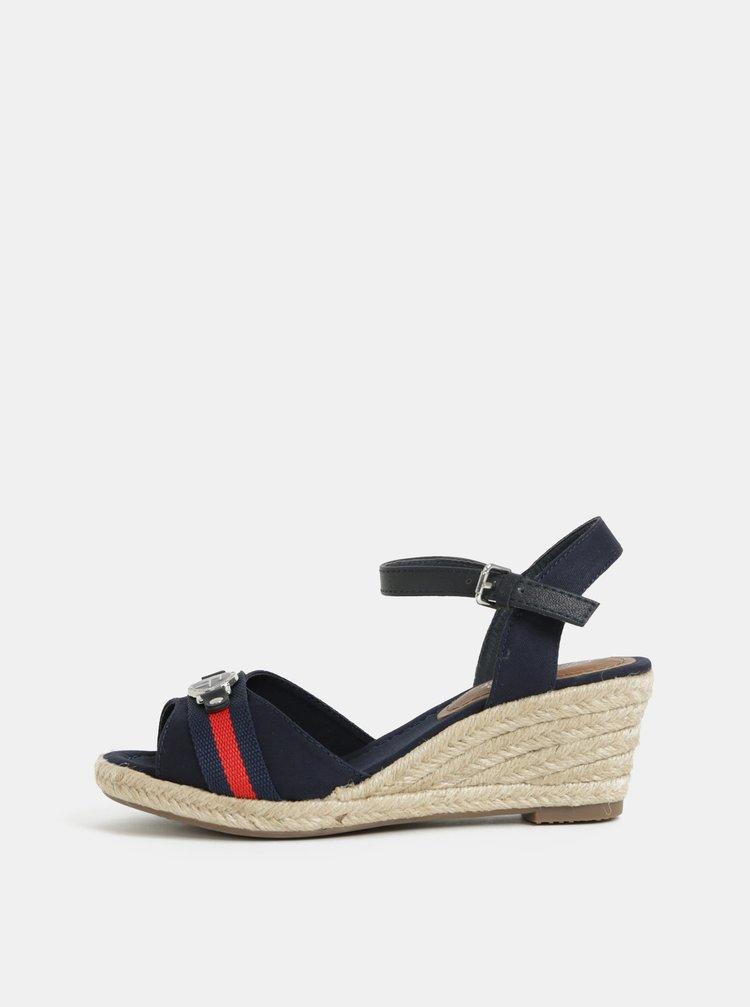 Tmavomodré sandálky na plnom podpätku Tom Tailor