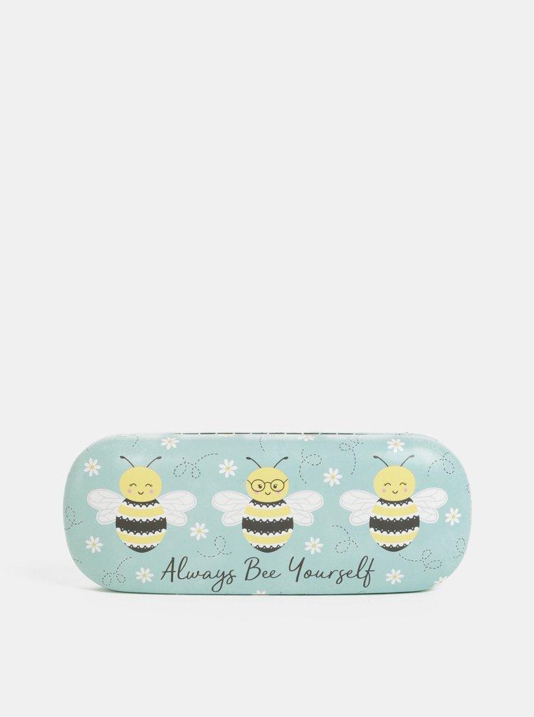 Světle modré pouzdro na brýle s motivem včel Sass&Belle Queen Bee